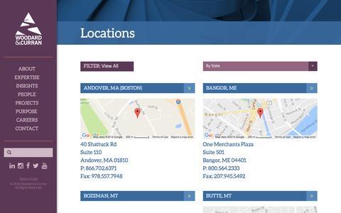 Screenshot of Locations Page woodardcurran.com - Locations - captured Dec. 14, 2016