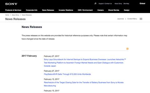 Sony Global - News Releases