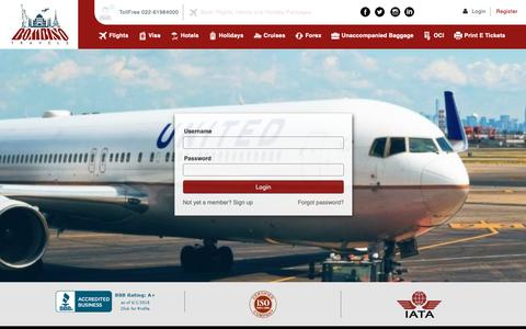 Screenshot of Login Page bombinotravels.com - Bombino Travels - captured Oct. 5, 2018