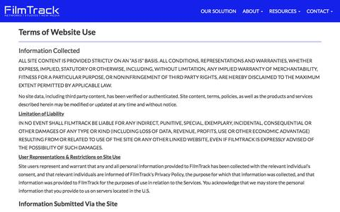 Screenshot of Terms Page filmtrack.com - Terms of Use - captured July 13, 2018