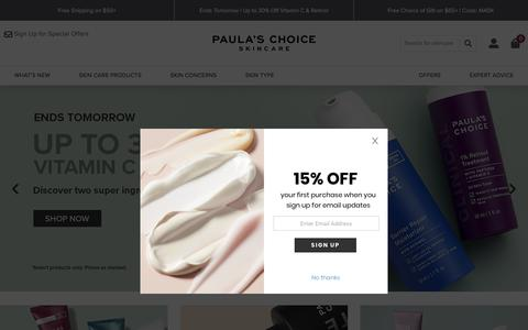 Screenshot of Home Page paulaschoice.com - Shop Paula's Choice - captured Aug. 22, 2019