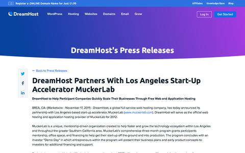 Screenshot of Press Page dreamhost.com - DreamHost Partners With Los Angeles Start-Up Accelerator MuckerLab  – DreamHost - captured Feb. 21, 2020