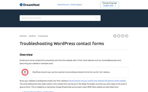 Screenshot of Support Page dreamhost.com - Troubleshooting WordPress contact forms – DreamHost - captured Feb. 21, 2020