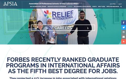 Screenshot of Jobs Page apsia.org - International Affairs Career Resources - captured July 6, 2017