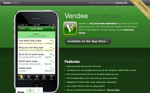 Screenshot of Home Page vendeeapp.com - Vendee for iPhone - captured Oct. 6, 2014