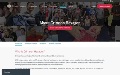 Screenshot of About Page crimsonhexagon.com - Who We Are – Crimson Hexagon - captured June 19, 2018