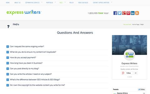 Screenshot of FAQ Page expresswriters.com - FAQ's - Copywriting Agency – Writing Services | Express Writers - captured Sept. 19, 2014