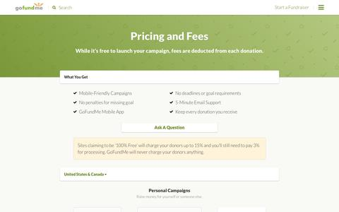 Screenshot of Pricing Page gofundme.com - Pricing and Fees - captured Nov. 24, 2016