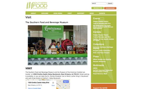 Screenshot of Contact Page Maps & Directions Page Hours Page southernfood.org - Visit | Southern Food and Beverage Museum - captured Oct. 25, 2014