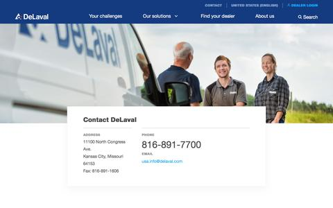 Screenshot of Contact Page delaval.com - Contact DeLaval - DeLaval - captured May 5, 2017