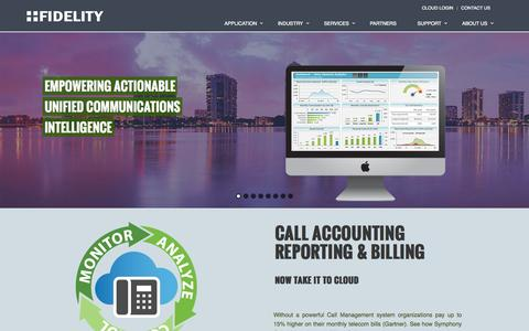 Screenshot of Home Page intellia.net - Fidelity | Call Accounting, Reporting, Billing and UC Applications - captured Oct. 6, 2014