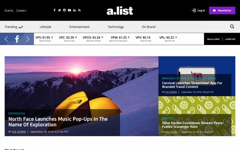 Screenshot of Home Page alistdaily.com - AList | News & Strategic Insights For Marketing Executives - captured Sept. 20, 2018