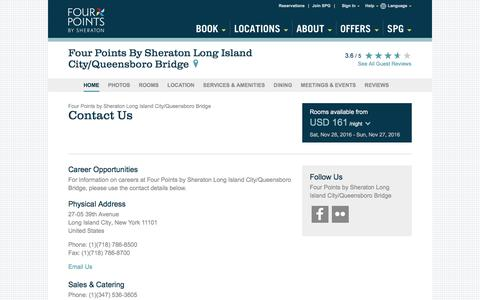 Screenshot of Contact Page starwoodhotels.com - Contact Us | Four Points by Sheraton Long Island City/Queensboro Bridge - captured Nov. 25, 2016
