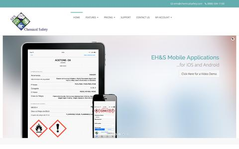 Screenshot of Home Page chemicalsafety.com - Environmental Health & Safety Software | Chemical Safety - captured Feb. 2, 2016