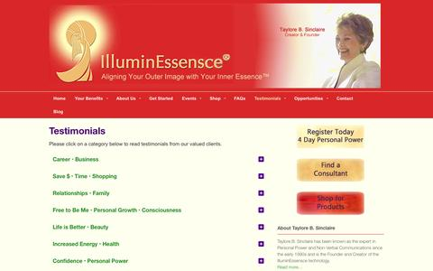 Screenshot of Testimonials Page illuminessensce.com - Client Testimonials | IlluminEssensce | IlluminEssensce - captured Sept. 30, 2014