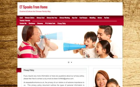 Screenshot of Privacy Page etspeaksfromhome.co.uk - Privacy Policy - ET Speaks From Home - captured Nov. 4, 2014