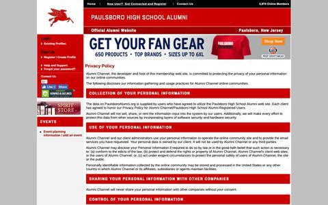 Screenshot of Privacy Page paulsboroalumni.org - Paulsboro High School Alumni - Privacy Policy - captured Oct. 21, 2018