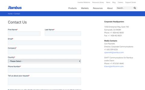 Screenshot of Contact Page rambus.com - Contact - Rambus - captured Aug. 21, 2019
