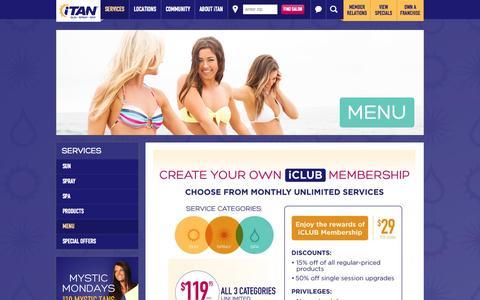 Screenshot of Menu Page itan.com - iTAN Menu - Tanning prices, Spray and Spa Services | iTAN Sun Spray Spa - captured Oct. 6, 2014