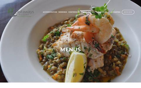 Screenshot of Menu Page castaways.co.nz - Menu -Castaways Restaurant & Bar — Castaways Resort - Luxury accommodation - captured Nov. 26, 2018