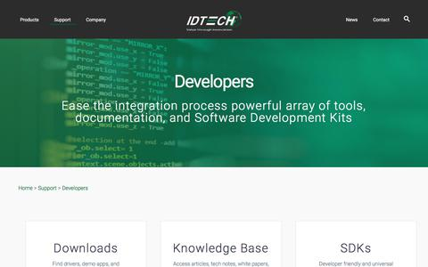 Screenshot of Developers Page idtechproducts.com - Developers – ID TECH - captured Sept. 23, 2018
