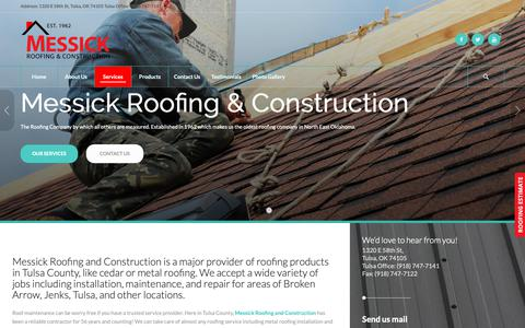 Screenshot of Services Page messickroofing.com - Roofing Maintenance Tulsa | Messick Roofing and Construction - captured Oct. 21, 2018