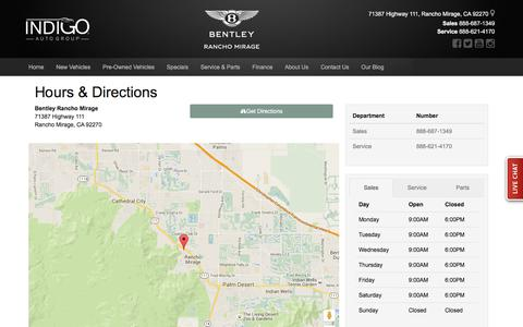 Screenshot of Hours Page bentleyofranchomirage.com - Bentley Rancho Mirage Hours & Directions - Rancho Mirage Bentley dealer in Rancho Mirage CA - New and Used Bentley dealership Cathedral City Palm Desert Palm Springs CA - captured March 17, 2016