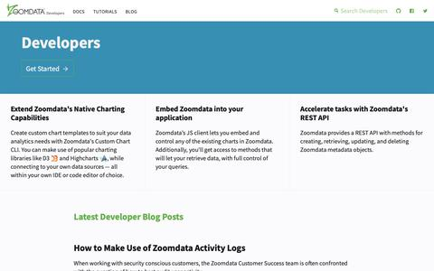 Screenshot of Developers Page zoomdata.com - Zoomdata Developers - captured Oct. 18, 2018
