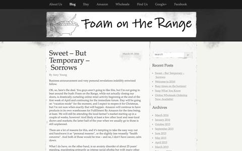 Screenshot of Blog foamontherange.net - Blog   Foam on the Range   A little piece of the modern prairie – handmade soaps, lotions and more! - captured Aug. 4, 2016