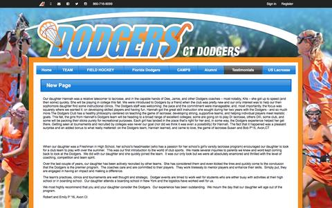 Screenshot of Testimonials Page ctdodgers.com - New Page | Dodgers Lacrosse Club of Connecticut - captured Dec. 6, 2015