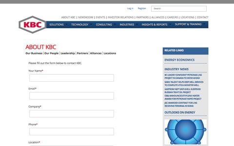 Screenshot of Contact Page kbcat.com - Contact KBC for Process Simulation Software - captured Oct. 6, 2014