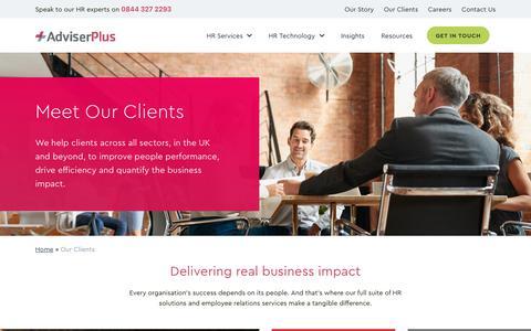 Screenshot of Case Studies Page adviserplus.com - Our Clients | AdviserPlus - captured Nov. 6, 2018