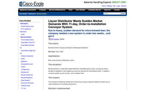 Screenshot of Case Studies Page cisco-eagle.com - Liquor distributor meets sudden market demands with fast-moving materials handling system - captured Jan. 5, 2017