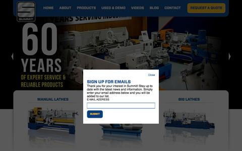 Screenshot of Home Page summitmt.com - Summit Metal Lathes and Machine Tools - captured Feb. 25, 2016