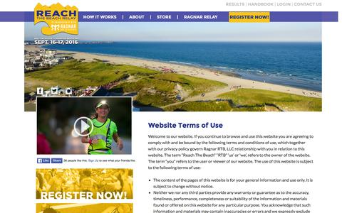 Screenshot of Terms Page rtbrelay.com - Terms of Use | Reach The Beach - captured Jan. 16, 2016