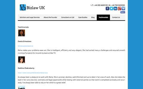 Screenshot of Testimonials Page bizlawuk.co.uk - Testimonials for Founder - BizlawUK: Consultant Solicitors - captured July 29, 2016