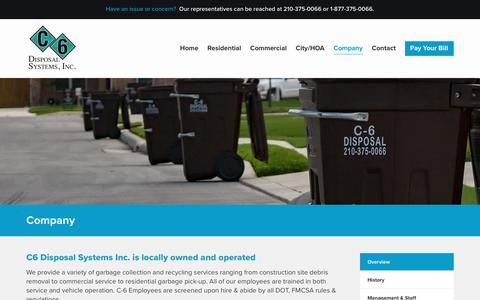 Screenshot of About Page c6disposal.com - Company - C6 Disposal - captured Nov. 4, 2018