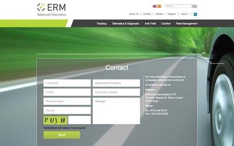 Screenshot of Contact Page ermtelematics.com - Contact | Erm Telematics - captured Sept. 19, 2014