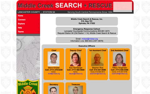 Screenshot of Contact Page midsar.org - MIDSAR - Middle Creek Search & Rescue - captured Feb. 13, 2016