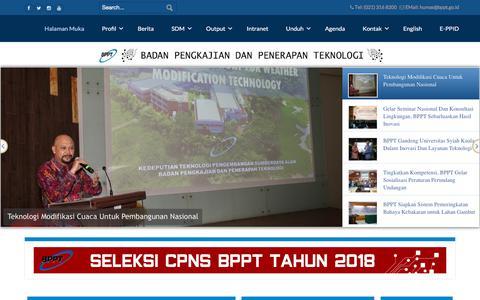 Screenshot of Home Page bppt.go.id - BADAN PENGKAJIAN DAN PENERAPAN TEKNOLOGI - Halaman Muka - captured Sept. 22, 2018