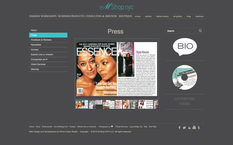 Screenshot of Press Page mshopnyc.com - WELCOME TO M SHOP NYC - captured Sept. 30, 2014