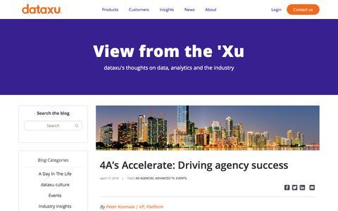 Screenshot of Blog dataxu.com - 4A's Accelerate: Driving agency success - dataxu, inc. - captured Nov. 18, 2019