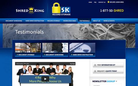 Screenshot of Testimonials Page shred-king.com - Testimonials » Shred King & SK Record Storage - captured Oct. 26, 2014