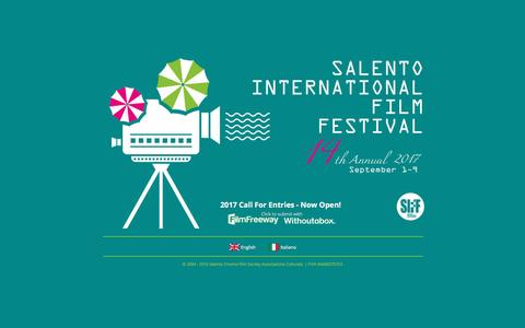 Screenshot of Home Page salentofilmfestival.com - Salento International Film Festival - captured Nov. 18, 2016