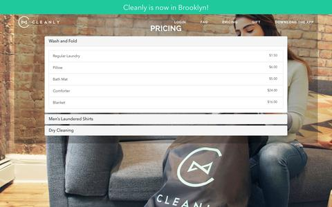 Screenshot of Pricing Page getcleanly.com - Cleanly - On-Demand Laundry & Dry-Cleaning Delivery App NYC - captured Nov. 21, 2015