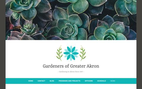 Screenshot of Press Page wordpress.com - News – Gardeners of Greater Akron - captured Oct. 28, 2018