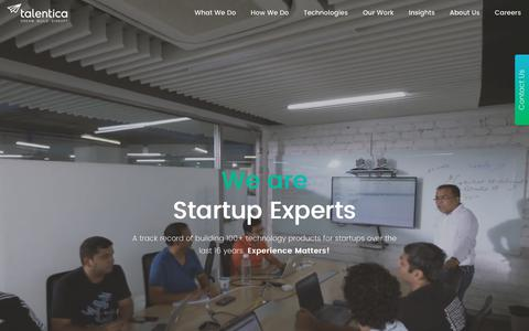 Screenshot of Home Page talentica.com - Outsourced Software Product Development for Startups | Talentica - captured July 20, 2019