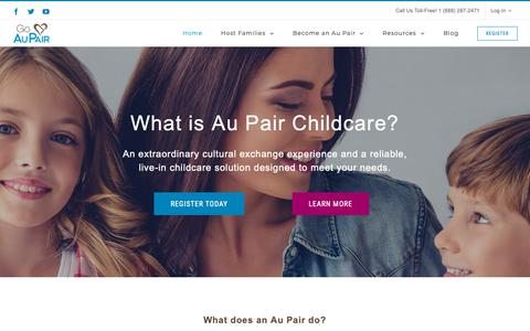 Screenshot of Home Page goaupair.com - Au Pair Childcare from Your Award-Winning, Trusted Agency   Go Au Pair - captured June 25, 2019