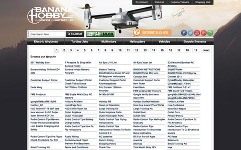 Screenshot of Site Map Page bananahobby.com - SiteMap - captured Aug. 1, 2018