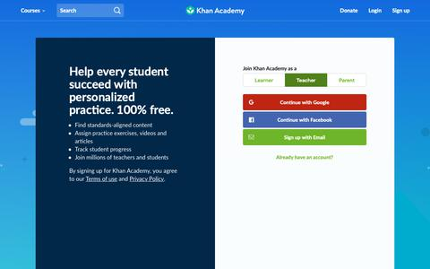 Screenshot of Signup Page khanacademy.org - Sign Up | Khan Academy - captured Nov. 1, 2018